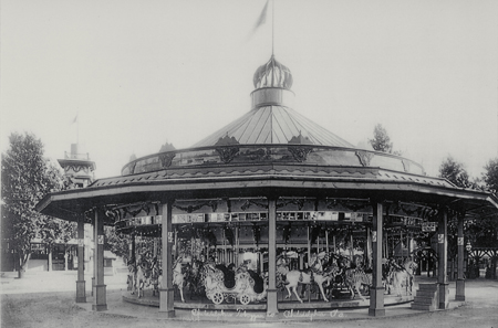 Old postcard showing Euclid Beach Carousel